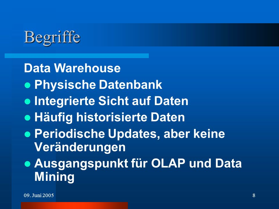 Begriffe Data Warehouse Physische Datenbank