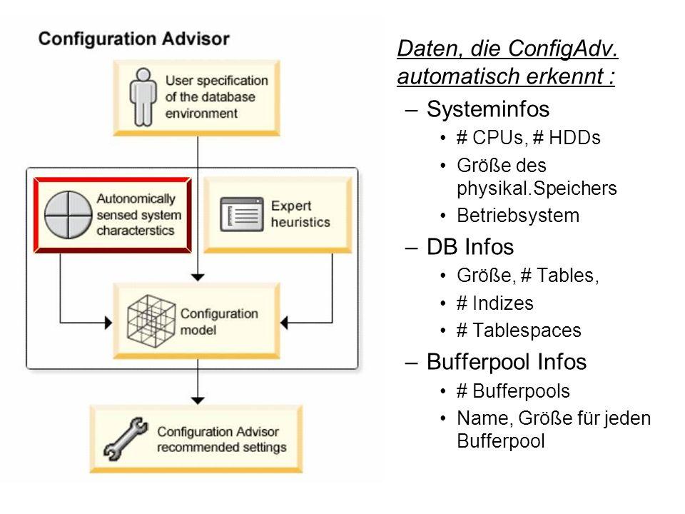 Daten, die ConfigAdv. automatisch erkennt : Systeminfos