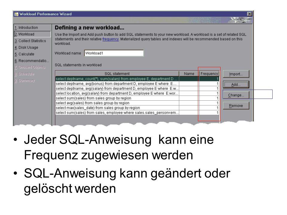 Jeder SQL-Anweisung kann eine Frequenz zugewiesen werden