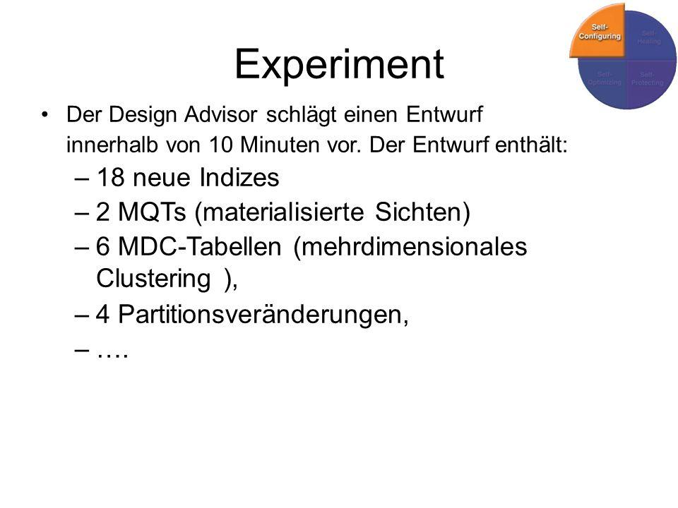 Experiment 18 neue Indizes 2 MQTs (materialisierte Sichten)