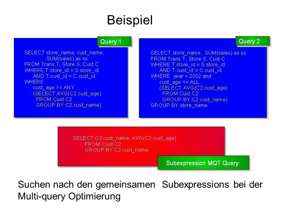 Beispiel Suchen nach den gemeinsamen Subexpressions bei der Multi-query Optimierung