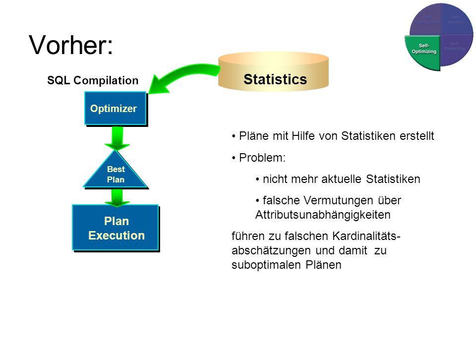 Vorher: Statistics Pläne mit Hilfe von Statistiken erstellt Problem: