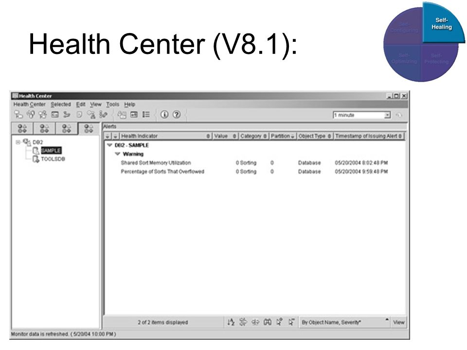 Health Center (V8.1): Links: Objects Fenster zeigt Objekte und ordnet sie abfallend nach Alarmlevel.