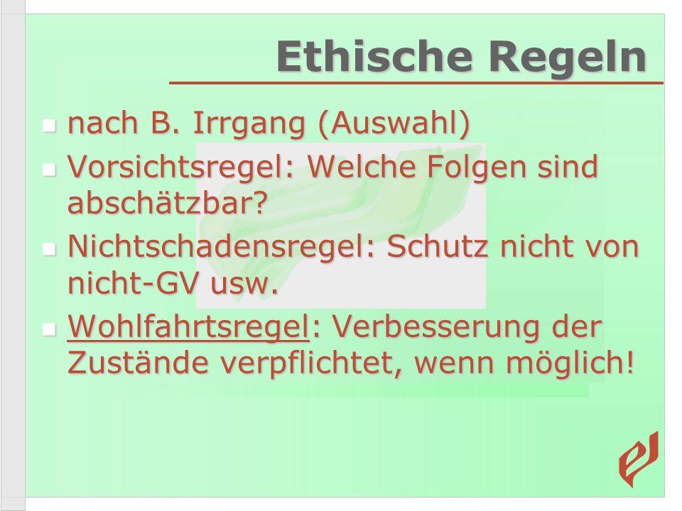 Ethische Regeln nach B. Irrgang (Auswahl)