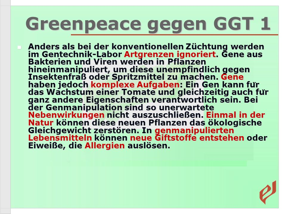 Greenpeace gegen GGT 1