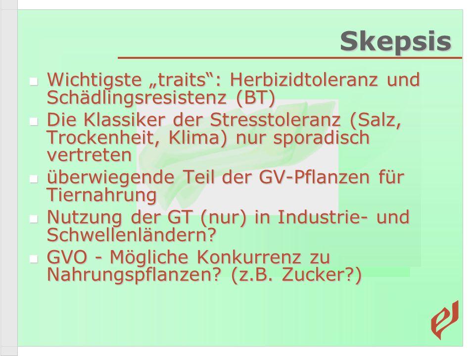 """Skepsis Wichtigste """"traits : Herbizidtoleranz und Schädlingsresistenz (BT)"""