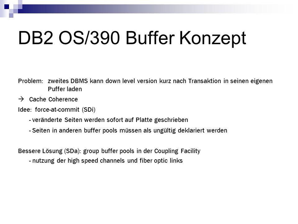 DB2 OS/390 Buffer Konzept Problem: zweites DBMS kann down level version kurz nach Transaktion in seinen eigenen Puffer laden.