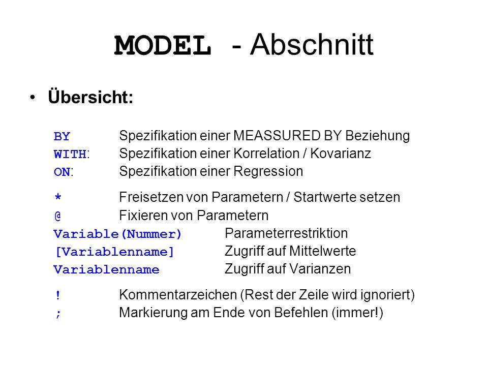 MODEL - Abschnitt Übersicht: