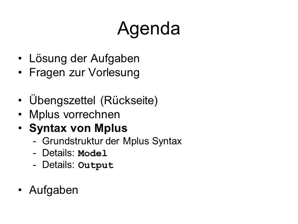 Agenda Lösung der Aufgaben Fragen zur Vorlesung