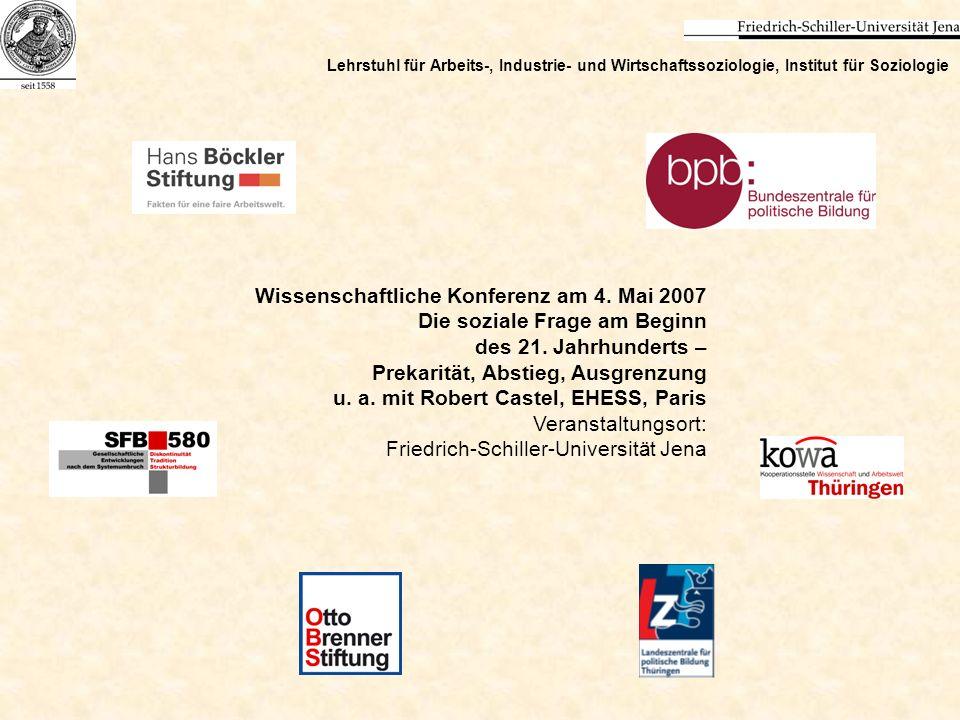 Wissenschaftliche Konferenz am 4. Mai 2007 Die soziale Frage am Beginn