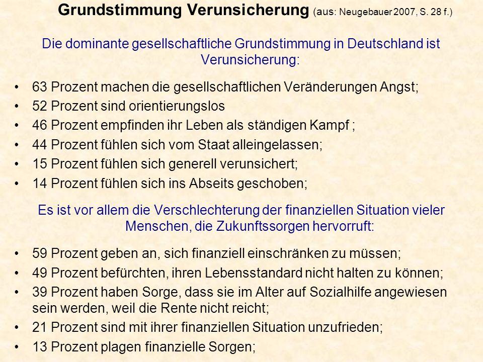 Grundstimmung Verunsicherung (aus: Neugebauer 2007, S. 28 f.)