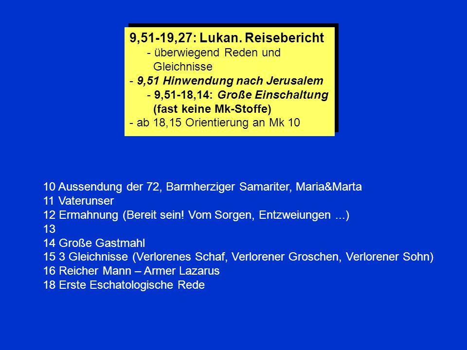 9,51-19,27: Lukan. Reisebericht - überwiegend Reden und Gleichnisse