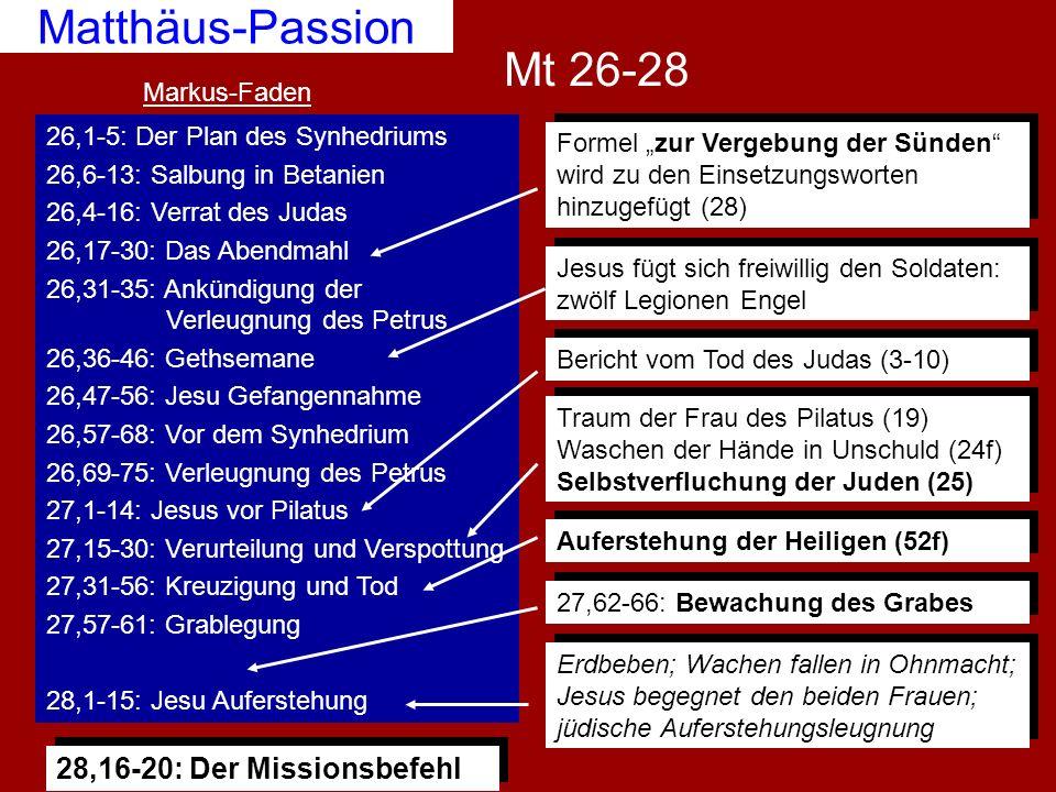 Matthäus-Passion Mt 26-28 28,16-20: Der Missionsbefehl Markus-Faden