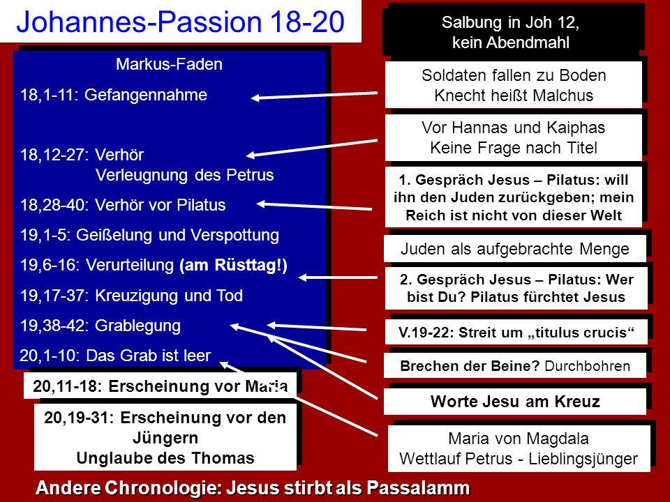 Johannes-Passion 18-20 Andere Chronologie: Jesus stirbt als Passalamm