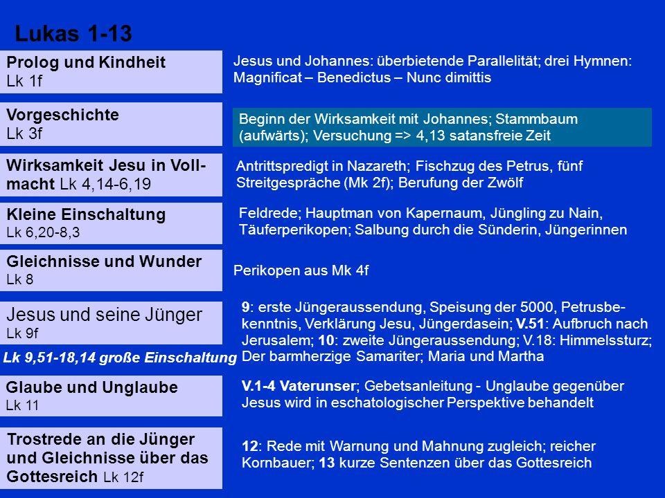 Lukas 1-13 Jesus und seine Jünger Prolog und Kindheit Lk 1f