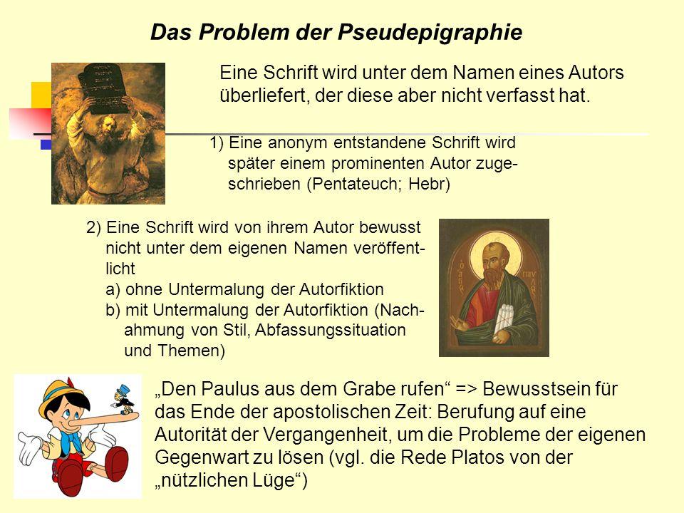 Das Problem der Pseudepigraphie