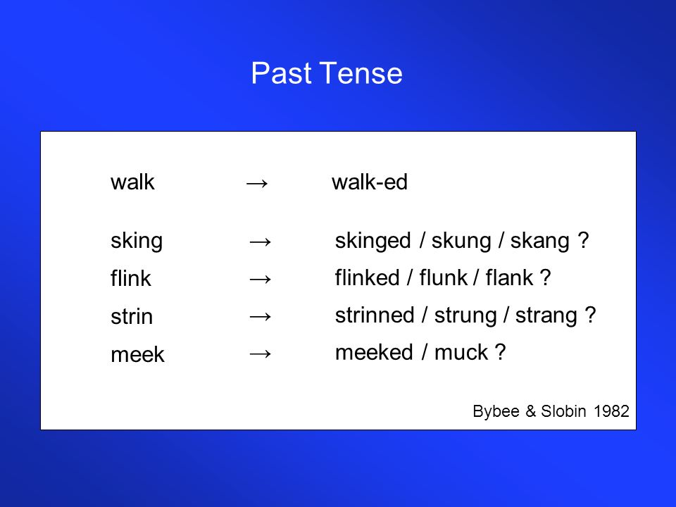 Past Tense walk → walk-ed sking flink strin meek