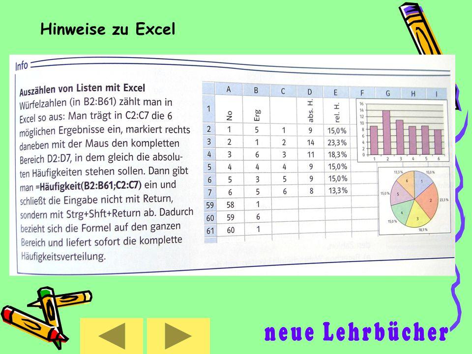 Hinweise zu Excel neue Lehrbücher