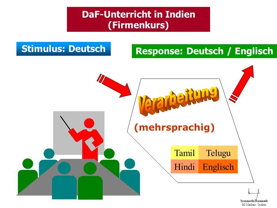 DaF-Unterricht in Indien (Firmenkurs) Response: Deutsch / Englisch