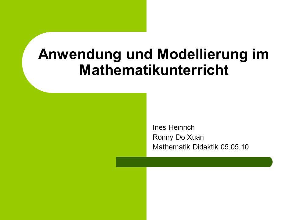 Anwendung und Modellierung im Mathematikunterricht