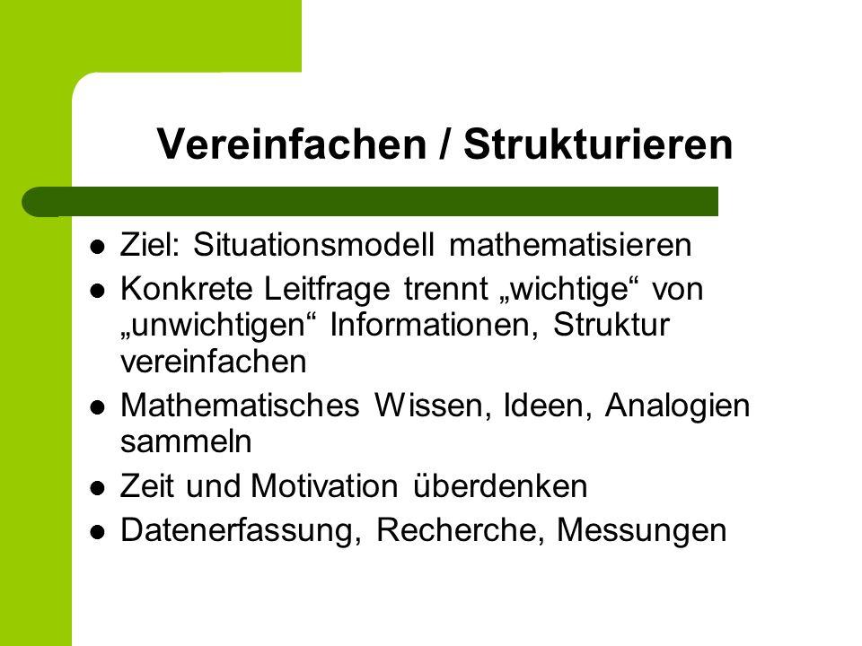 Vereinfachen / Strukturieren