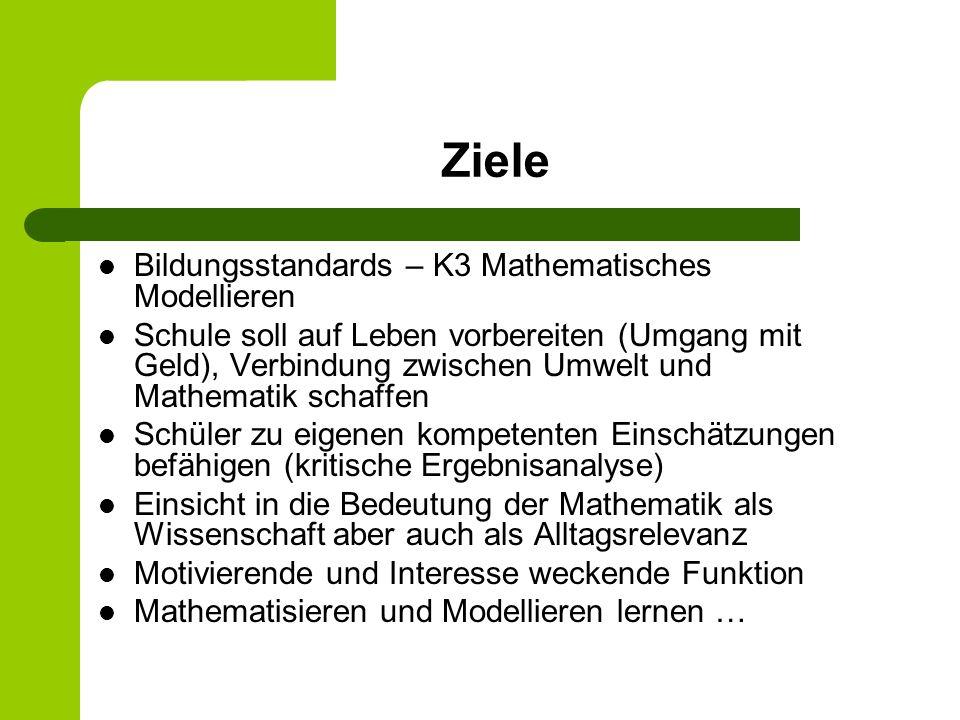 Ziele Bildungsstandards – K3 Mathematisches Modellieren