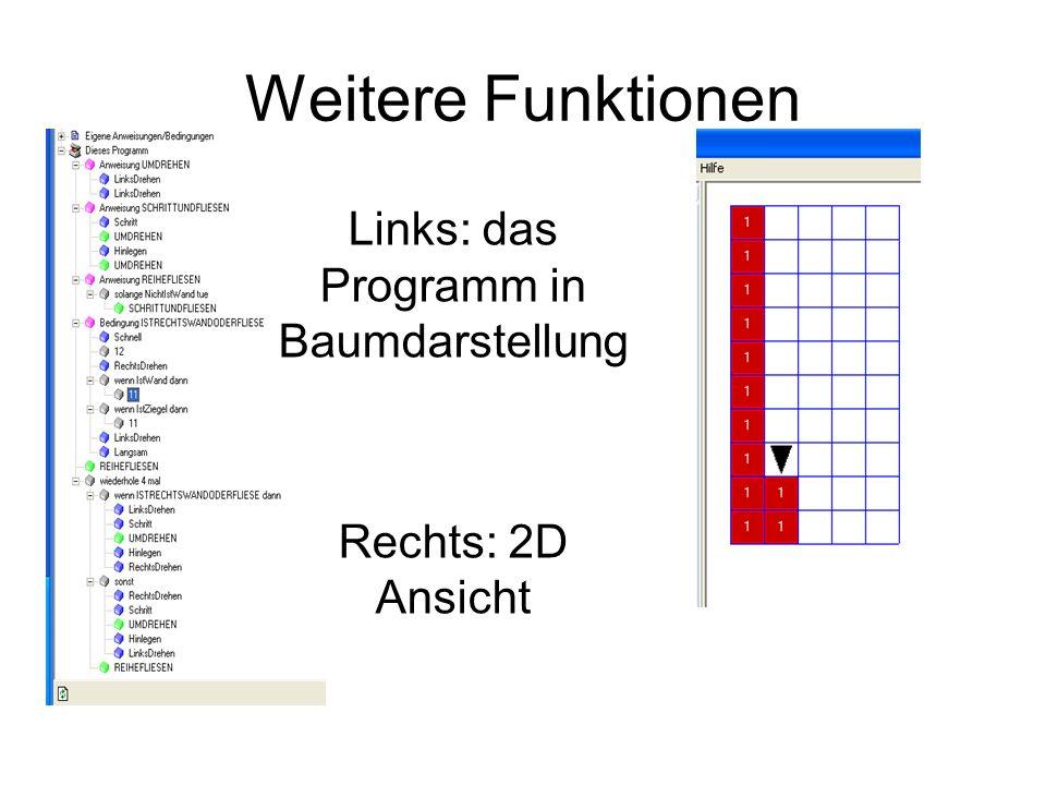 Links: das Programm in Baumdarstellung