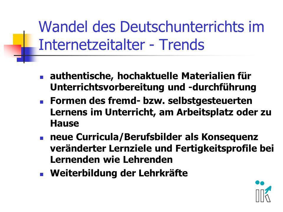 Wandel des Deutschunterrichts im Internetzeitalter - Trends