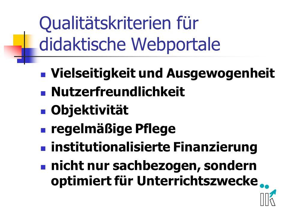 Qualitätskriterien für didaktische Webportale