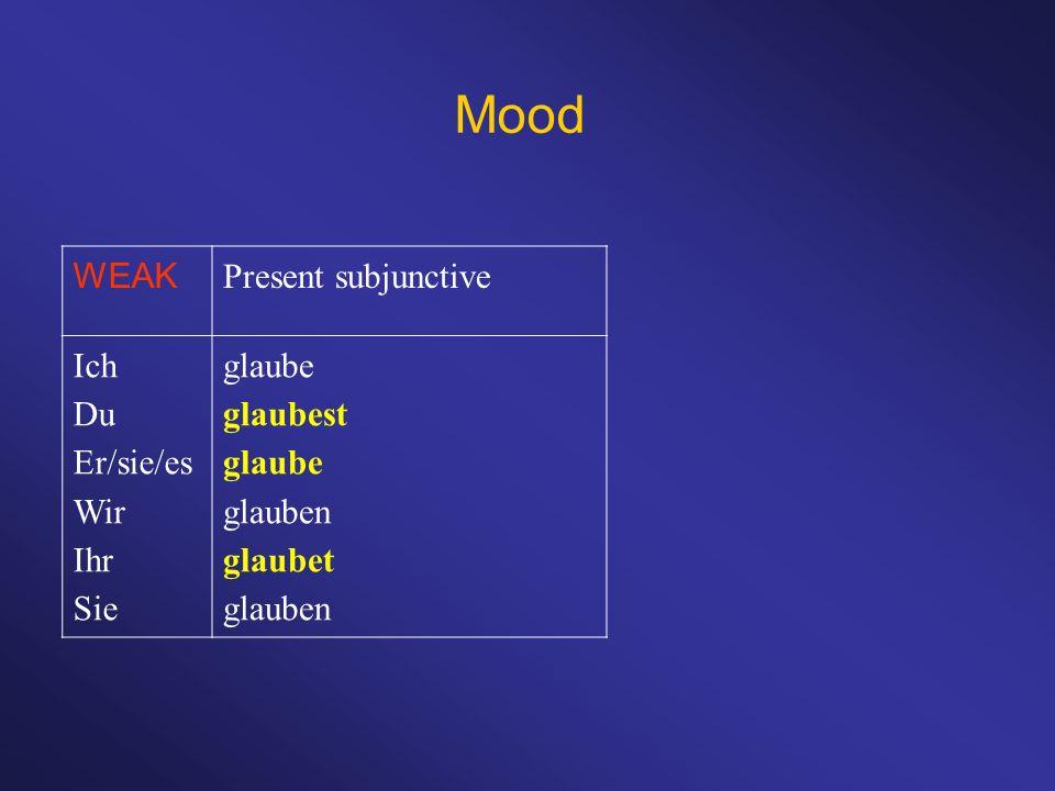 Mood WEAK Present subjunctive Ich Du Er/sie/es Wir Ihr Sie glaube