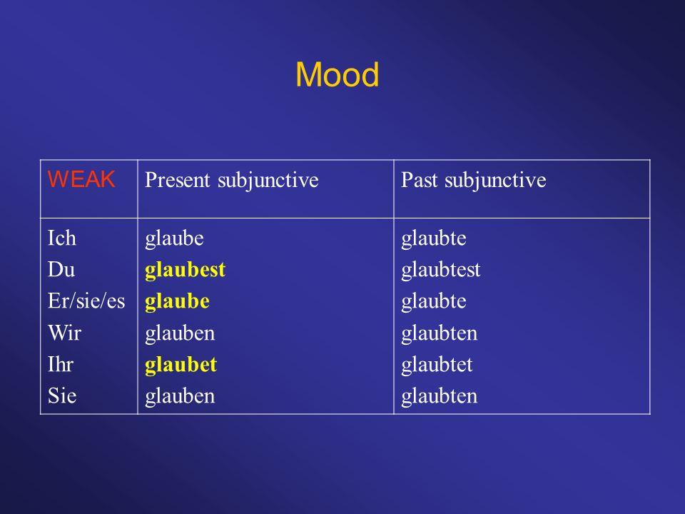 Mood WEAK Present subjunctive Past subjunctive Ich Du Er/sie/es Wir