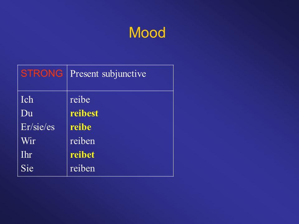 Mood STRONG Present subjunctive Ich Du Er/sie/es Wir Ihr Sie reibe