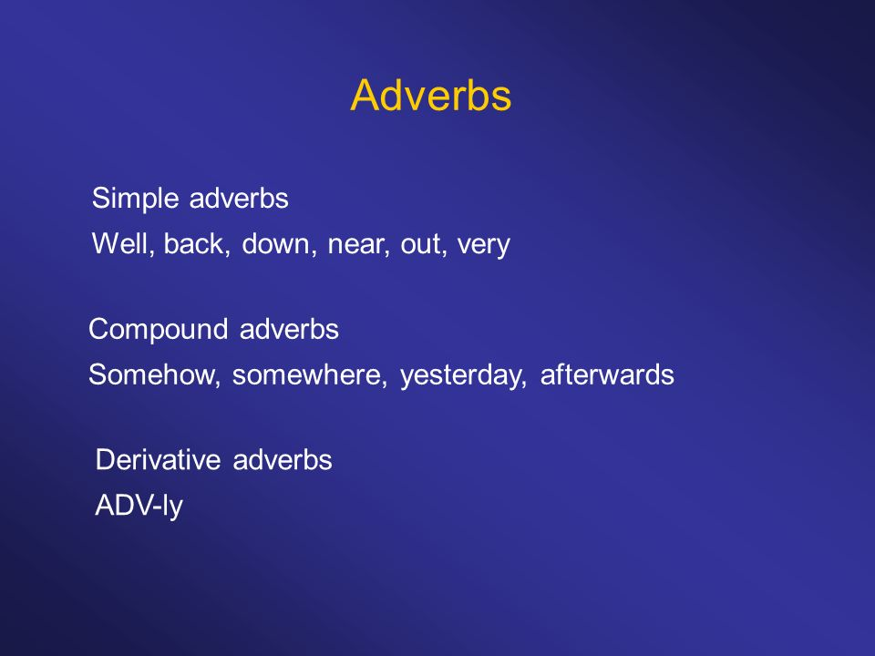 Adverbs Simple adverbs Well, back, down, near, out, very