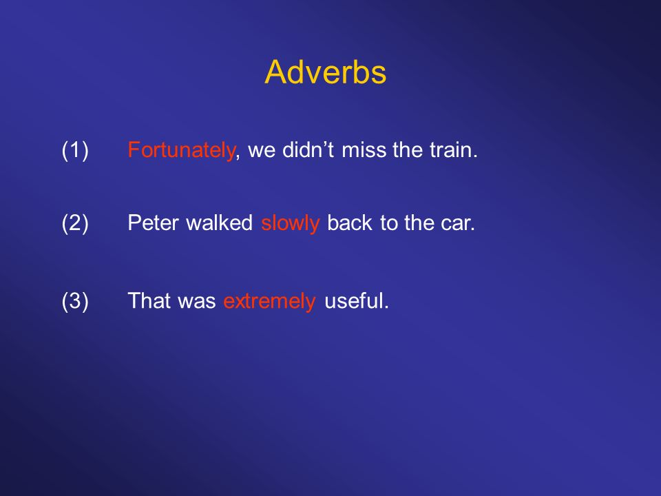 Adverbs (1) Fortunately, we didn't miss the train.