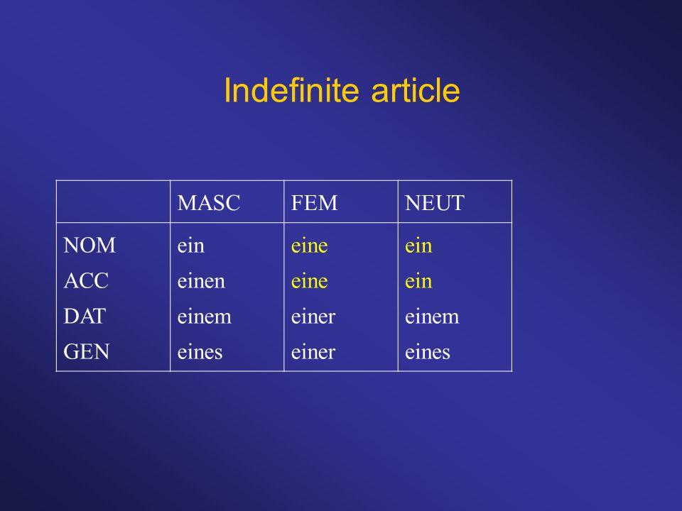 Indefinite article MASC FEM NEUT NOM ACC DAT GEN ein einen einem eines