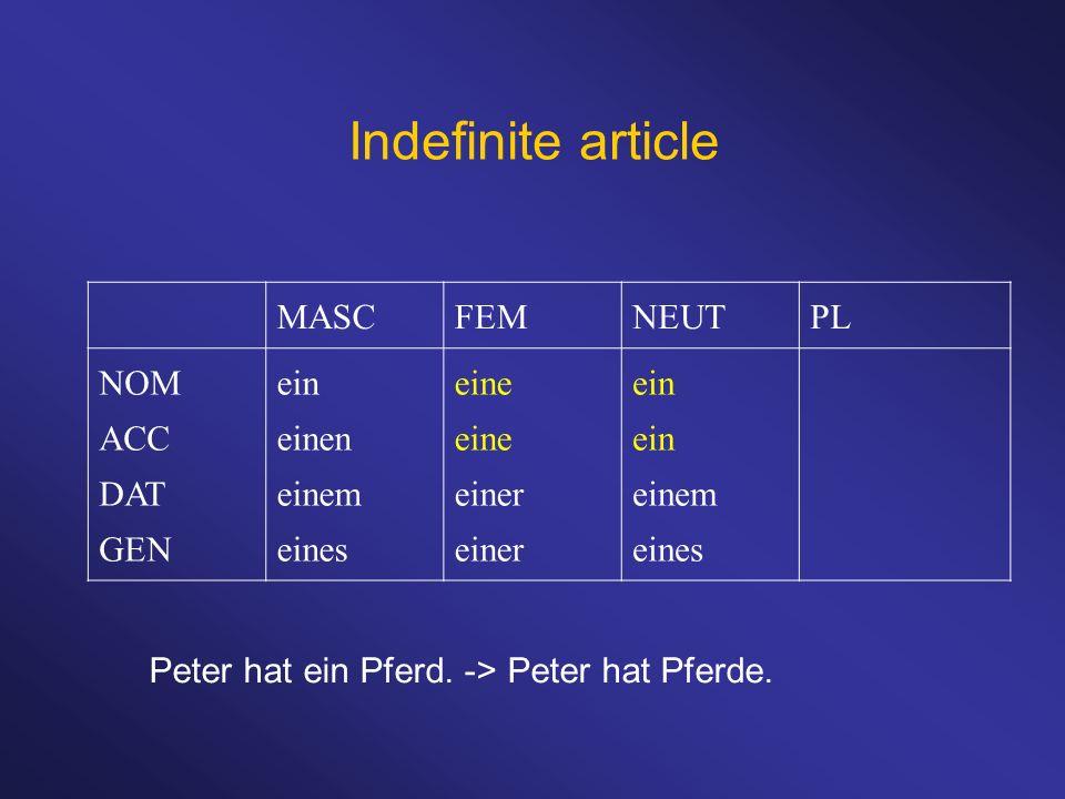 Indefinite article MASC FEM NEUT PL NOM ACC DAT GEN ein einen einem