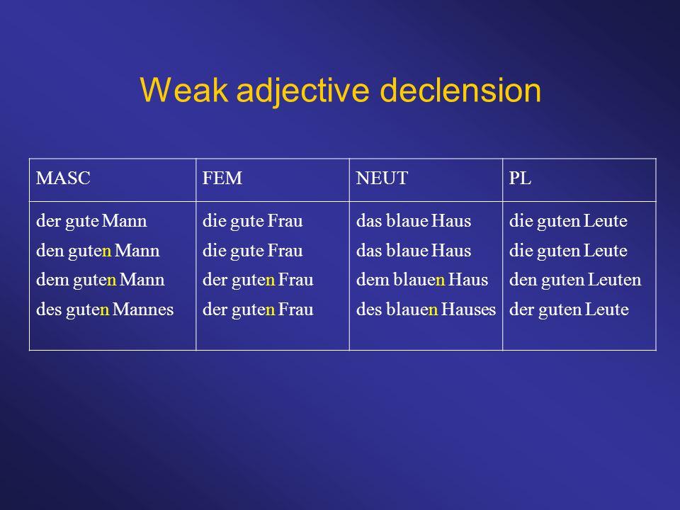 Weak adjective declension
