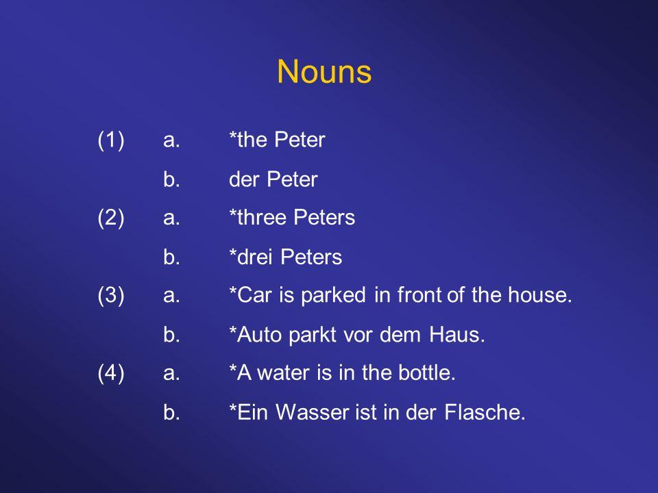 Nouns (1) a. *the Peter b. der Peter (2) a. *three Peters