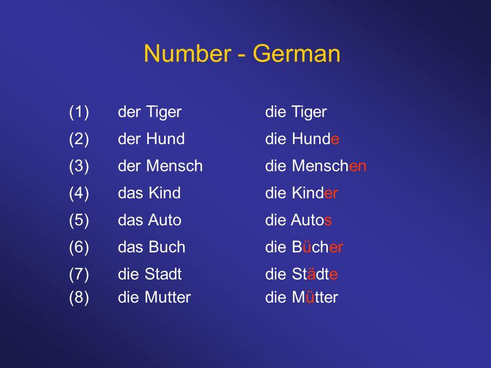 Number - German (1) der Tiger die Tiger (2) der Hund die Hunde