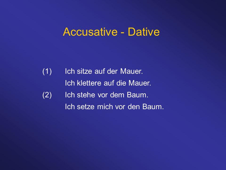 Accusative - Dative (1) Ich sitze auf der Mauer.