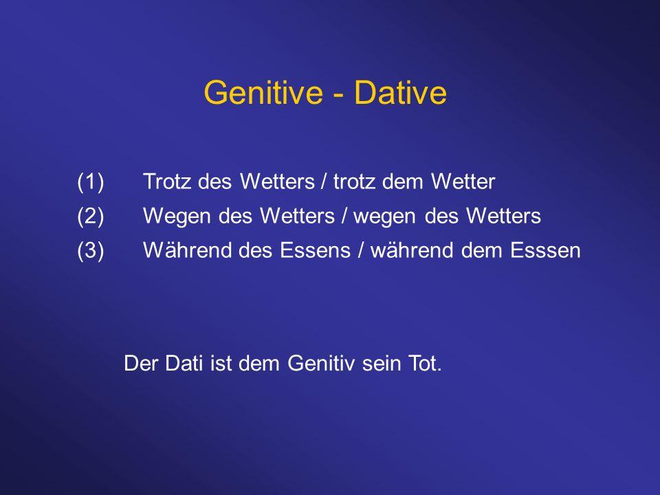 Genitive - Dative (1) Trotz des Wetters / trotz dem Wetter