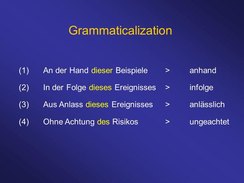 Grammaticalization (1) An der Hand dieser Beispiele > anhand