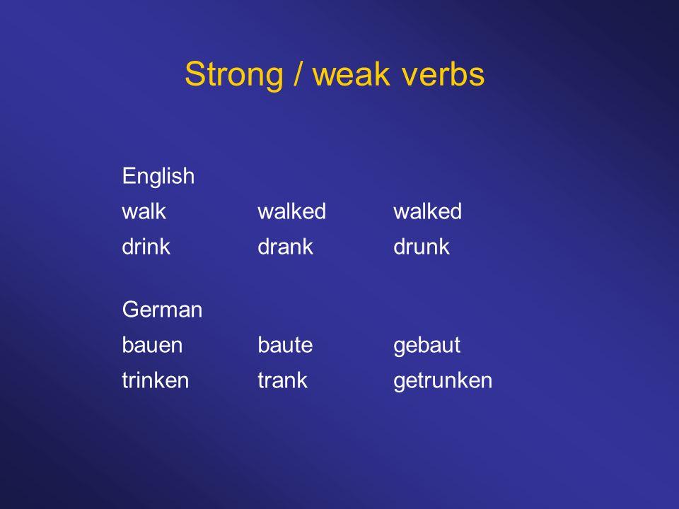Strong / weak verbs English walk walked walked drink drank drunk