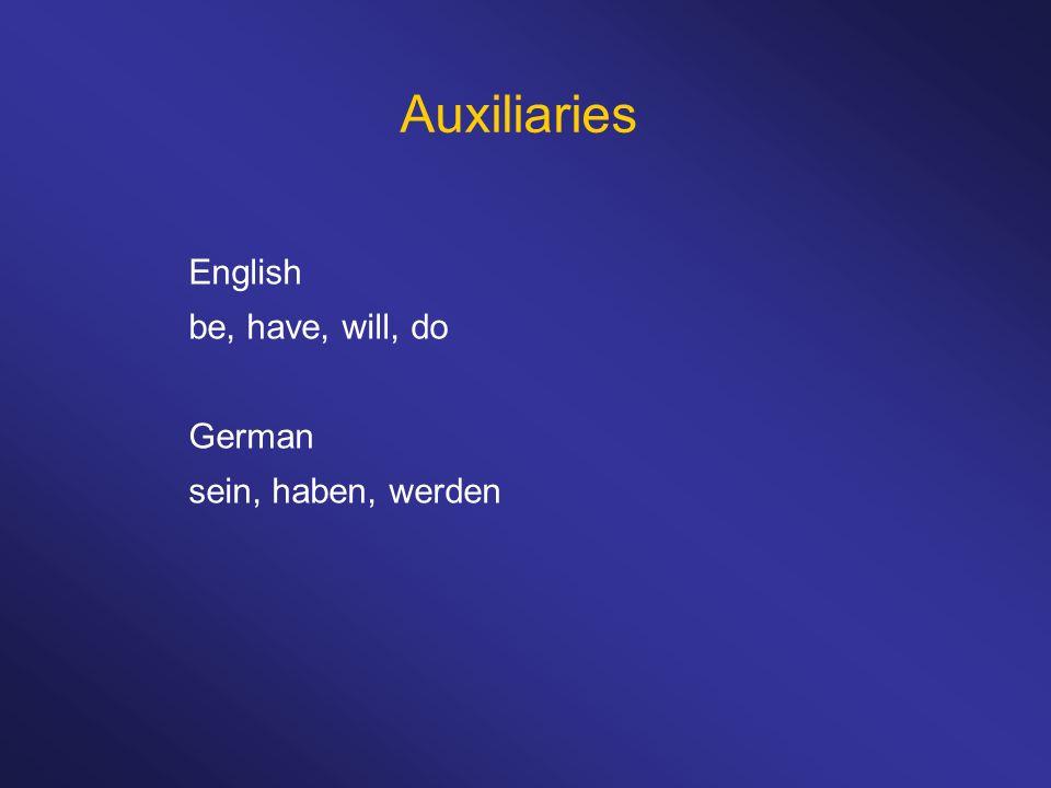 Auxiliaries English be, have, will, do German sein, haben, werden