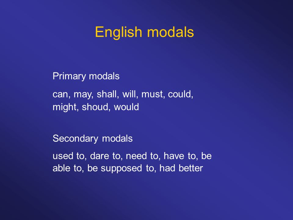 English modals Primary modals