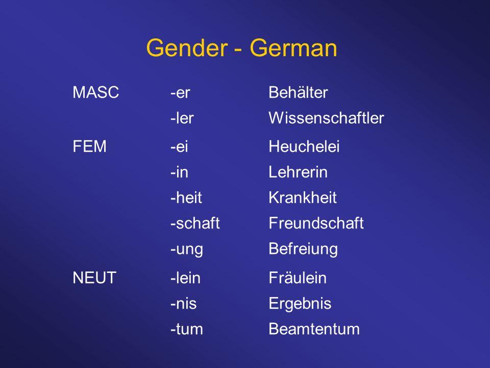 Gender - German MASC -er Behälter -ler Wissenschaftler