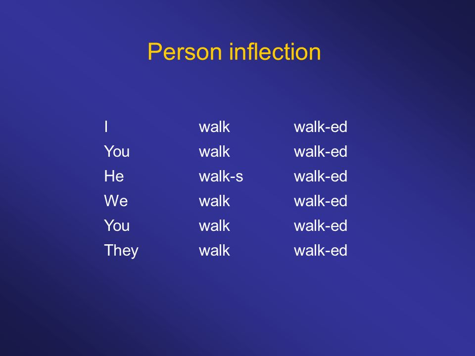 Person inflection I walk walk-ed You walk walk-ed He walk-s walk-ed