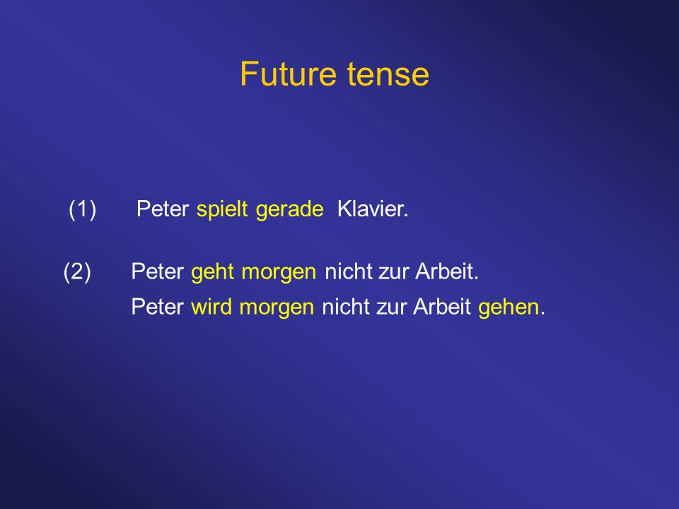 Future tense (1) Peter spielt gerade Klavier.