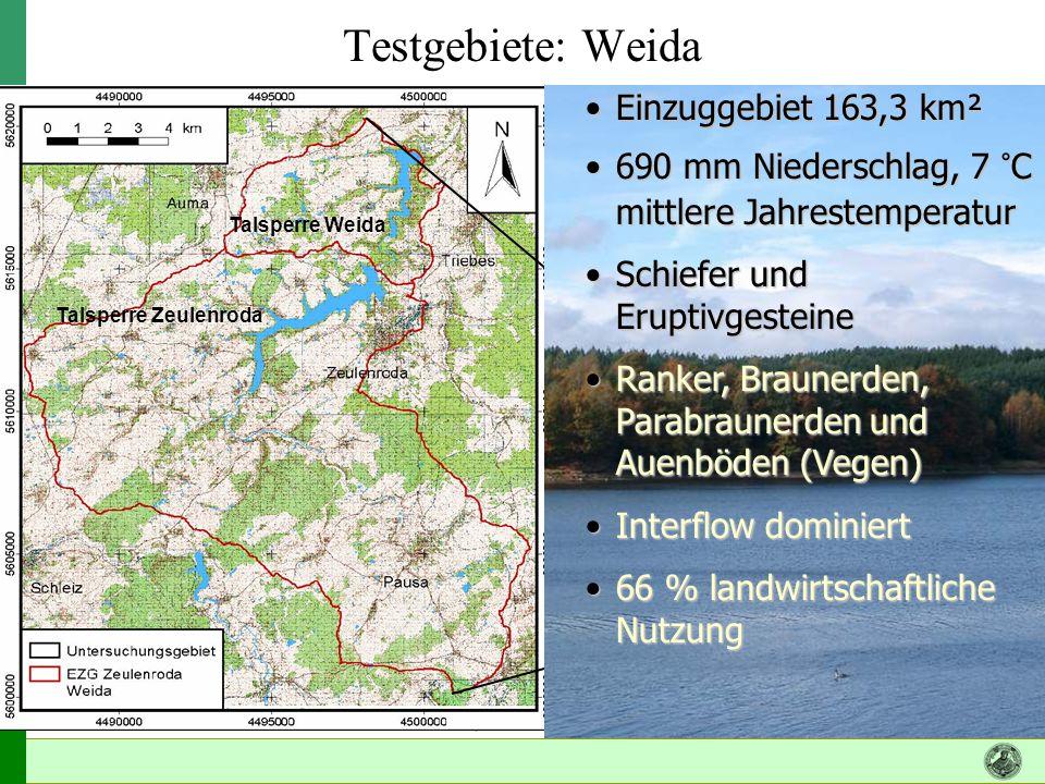 Testgebiete: Weida Einzuggebiet 163,3 km²