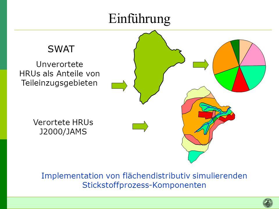 Einführung SWAT Unverortete HRUs als Anteile von Teileinzugsgebieten
